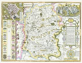Wiltshire; engraved by Jodocus Hondius (1563-1612) from John Speed''s Theatre of the Empire of Great