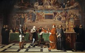 Galileo Galilei in front of the Inquisition in the