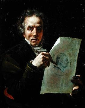 Self Portrait with a Drawing of Louis XVIII (1755-1824)