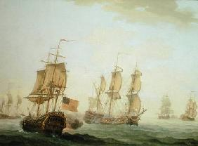 Naval Engagement between a British East Indiaman and a French Warship