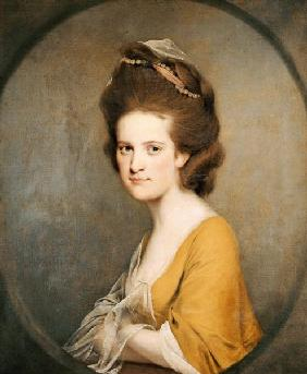 Joseph Wright of Derby - Portrait Of Dorothy Hodges (1752-1800),  Half-Length,  In A Yellow Dress