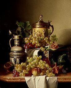 Quiet life with grapes and jugs