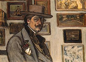 Self-portrait with a brown hat