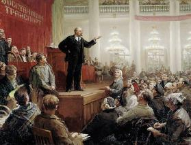 Lenin during a convention of the Russian transport