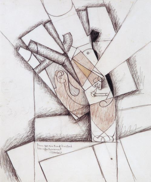 The Smoker, 1912 (charcoal & red chalk on paper)