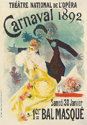 Advertisement for the 1st Carnaval masked ball at the Theatre National de l'Opera