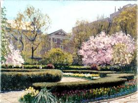 Conservatory Gardens, New York (oil on canvas)