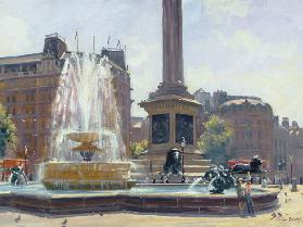 Trafalgar Square, London (oil on canvas)
