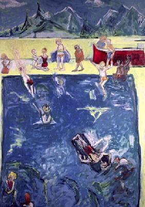 Swimmers in Wengen (oil on canvas)