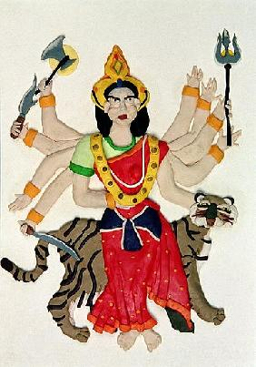Durga (oil and clay on paper)