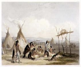 Funeral Scaffold of a Sioux Chief near Fort Pierre, plate 11 from Volume 2 of 'Travels in the Interi