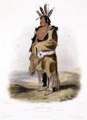 Pachtuwa-Chta, an Arrikkara Warrior, plate 27 from Volume 1 of 'Travels in the Interior of North Ame