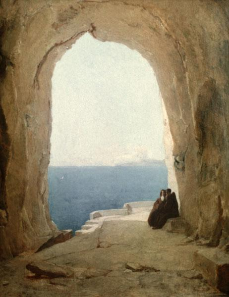 Grotto with Two Monks...