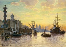 Evening atmosphere over the Newa (saint Petersburg
