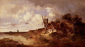 Windmill and smallholder farmstead at the water