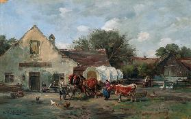 Smallholder waggon in front of a Dachauer inn.
