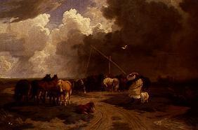 Pusztalandschaft with horse herd and storm pulling