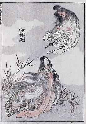A witch and a woman, from a Manga (colour woodblock print)