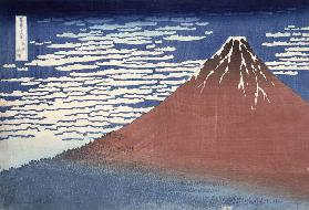 Fine weather with South wind, from 'Fugaku sanjurokkei' (Thirty-Six Views of Mount Fuji) c.1831 (col