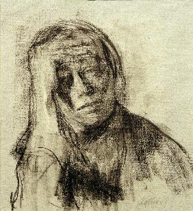 Self-portrait with stretched-out right arm, hand on forehead