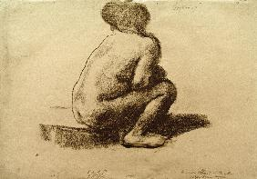 Seated female nude from behind