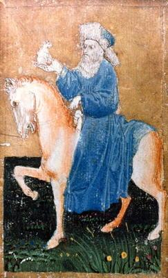 A mounted man holding a small dog, one of a set of playing cards depicting scenes of courtly hawking