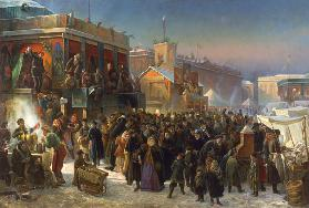 Shrove-tide Fete on Admiralty Square in St Petersburg