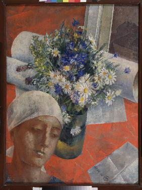 Flowers and a Woman's head