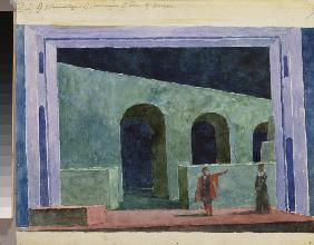 Stage design for the opera Boris Godunov by M. Musorgsky