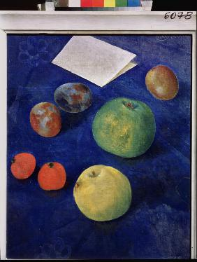 Fruit on blue Tablecloth
