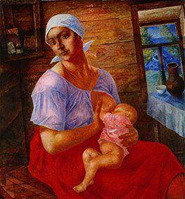 Russian farmer's wife when breastfeeding her baby.