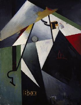 Box-R-Bild, 1921, by Kurt Schwitters (1887-1948), oil, wood and collage on canvas, 70x54 cm. Germany