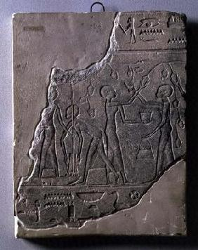 Bas relief of priestesses gathering grapes, 26th-30th Dynasty (stone)