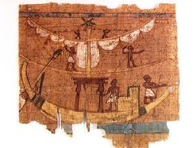 Embarkation on a river (papyrus)