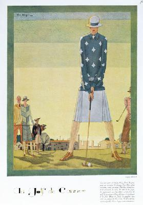 Golfing dress design by Jane Regny, fashion plate from Femina magazine, Christmas 1926 (colour litho
