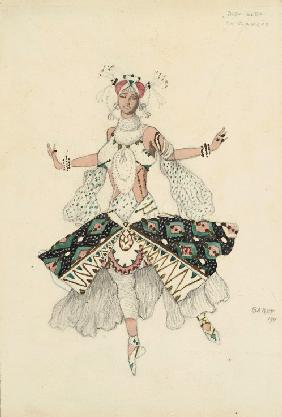 "La Fiancee. Costume design for Tamara Karsavina for the Ballet ""Blue God"" by R. Hahn"