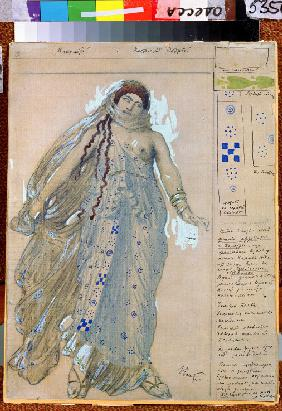 Phaedra. Costume design for the drama Hippolytus by Euripides