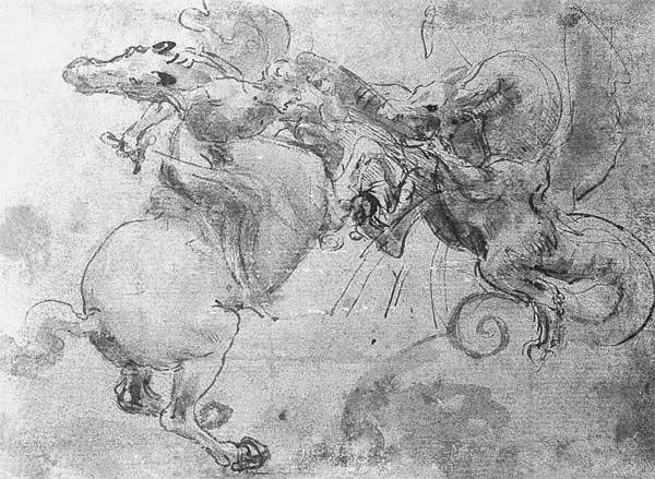 Battle between a Rider and a Dragon, c.1482 (stylus underdrawing, pen and brush on paper)