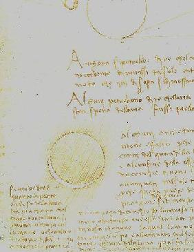 Codex Leicester. Folio 2 recto showing the outer luminosity of the moon (lumen cinerum)