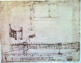 Facsimile of Codex Atlanticus 341vb Design for Fortifications (original copy in the Biblioteca Ambro