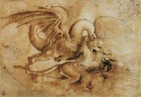 Fight between a dragon and a lion
