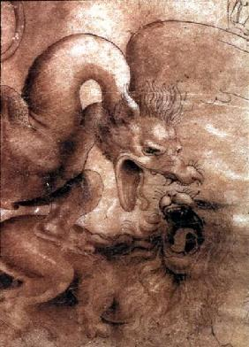 Fight between a dragon and a lion, a detail