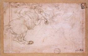 A Horseman in Combat with a Griffin