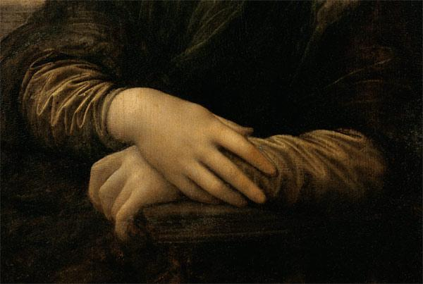 Mona Lisa, detail of her hands