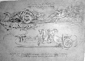 Scythed Chariot, c.1483-85 (pen and ink on paper)
