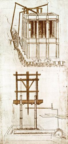 Facsimile of Codex Atlanticus 395v Hydraulic Water Pump for a Fountain (original copy in the Bibliot