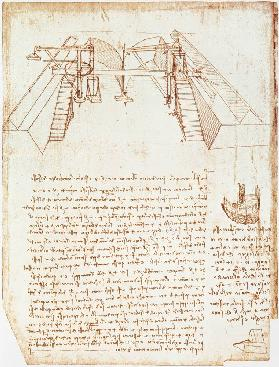 Facsimile of Codex Atlanticus 363vb Pulley System for the Construction of a Staircase (original copy