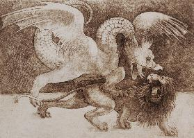 Fight between a Dragon and a Lion (pen and ink on paper) (print)