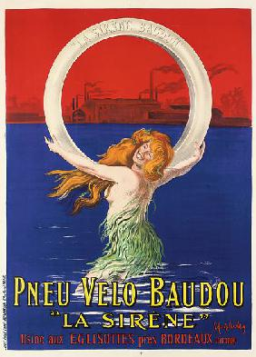 Poster advertising 'La Sirene' bicycle tires manufactured by Pneu Velo Baudou