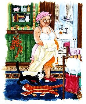 Grandma and 2 cats and nightdress